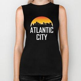 Sunset Skyline of Atlantic City NJ Biker Tank