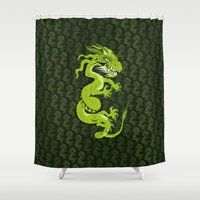 smaug Shower Curtains featuring Jade Dragon by Cartoonasaurus