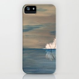 Floating Feather. Original Painting by Jodilynpaintings. Abstract Feather on Water. iPhone Case