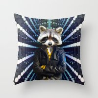 rocket raccoon Throw Pillows featuring ROCKET RACCOON by Walko