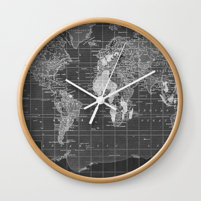 Black And White Vintage World Map Wall Clock By Catherineholcombe