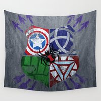avenger Wall Tapestries featuring Crest of an Avenger by Andi Robinson