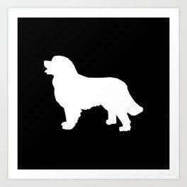 Bernese Mountain Dog silhouette black and white minimal dog gifts Art Print