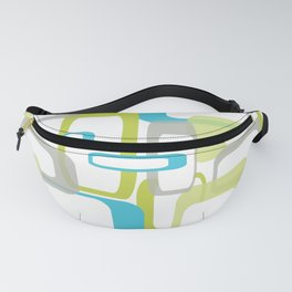 Mid-Century Modern Rectangle Design Blue Green and Gray Fanny Pack