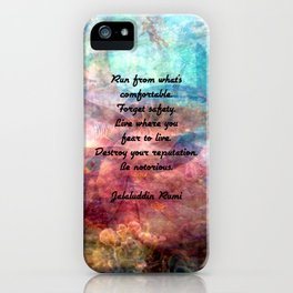 Challenging Fear Rumi Uplifting Quote With Beautiful Underwater Painting iPhone Case