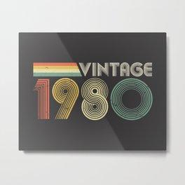 Vintage 1980, 40th Birthday Gift Metal Print
