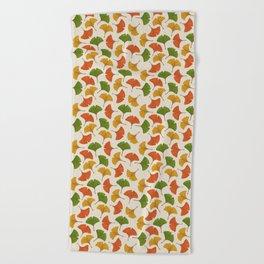 Fall ginkgo biloba leaves pattern Beach Towel