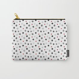 Watercolor dots and hearts in gray and red pattern Carry-All Pouch