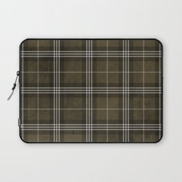 Grungy Brown Plaid Laptop Sleeve