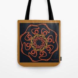 Hope Flower Mandala - Brown Black Framed Tote Bag