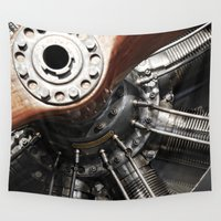 airplane Wall Tapestries featuring Airplane motor by Claude Gariepy