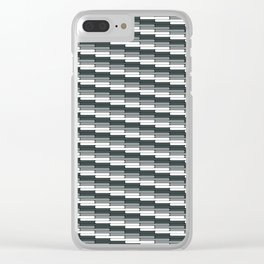 Staggered Oblong Rounded Lines Pattern PPG Night Watch Pewter Green Clear iPhone Case