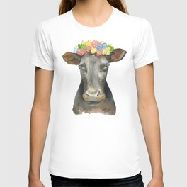 Black Cow with a Floral Crown T-shirt