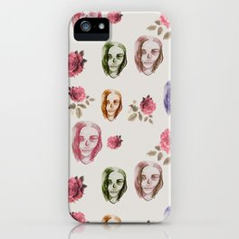 dead girl and roses pink iPhone Case