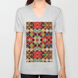 N96 - Heritage Traditional Islamic Moroccan Tiles Style Artwork. Unisex V-Neck