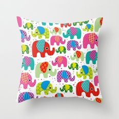 Colorful india elephant kids illustration pattern Throw Pillow