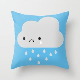 Sad Kawaii Rain Cloud Throw Pillow