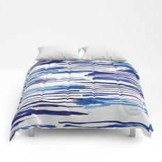 Shibori Paint Vivid Indigo Blue and White Comforters