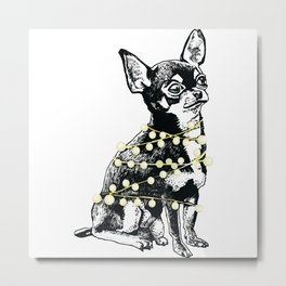 Winter holiday chihuahua dog Metal Print