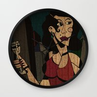 noir Wall Clocks featuring Noir by Matt Jeffs