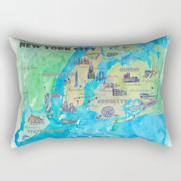 New York City Favorite Travel Map with Touristic Highlights Rectangular Pillow