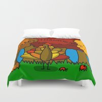 thanksgiving Duvet Covers featuring Happy Thanksgiving! by Veronica Nagorny