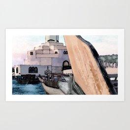 Doha Art Museum Watercolor Art Print