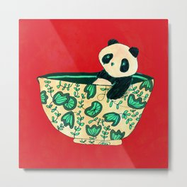 Dinnerware sets - panda in a bowl Metal Print