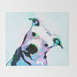 Pit bull - Puzzled - Pop Art Throw Blanket