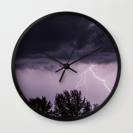 Lightning storm in the mountains Wall Clock