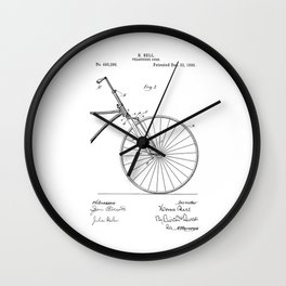 patent art Bell Velocipede fork 1890 Wall Clock