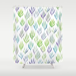 Watercolour Ferns | Purple and Green Shower Curtain