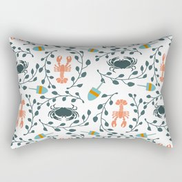 Lobster and Crab Motif Rectangular Pillow