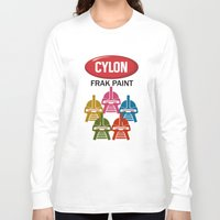 battlestar Long Sleeve T-shirts featuring Cylon Frak Paint by Don Calamari