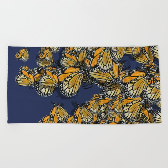 Butterfly Frenzy Spring Navy Beach Towel