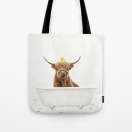 Highland Cow with Rubber Ducky in Vintage Bathtub Tote Bag