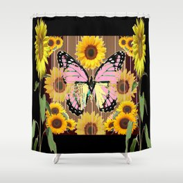 BLACK ABSTRACT PINK BUTTERFLY SUNFLOWER FLORAL Shower Curtain