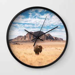 The Lonely Bison, Salt Lake City, Utah-Desert Landscape Wall Clock