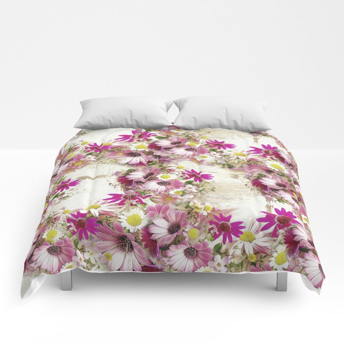 Worn Wood and Wild Flowers Comforters