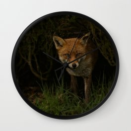 Fox Peeking Through The Hedge Wall Clock