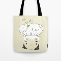 chef Tote Bags featuring hello chef by Hello Sunwoo