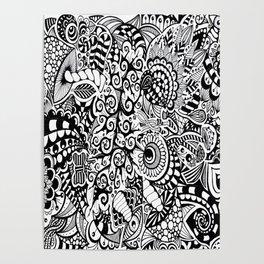 Mushroom madness black and white Poster