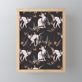 Sphynx cat dark print Framed Mini Art Print