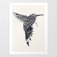 plain Art Prints featuring HummingBird Plain by efan