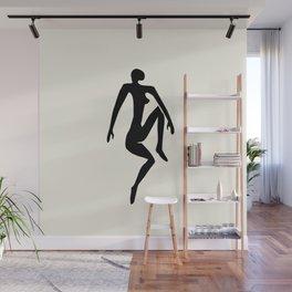 Sitting Nude - black Wall Mural