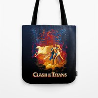 teen titans Tote Bags featuring Titans by CromMorc