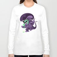 xenomorph Long Sleeve T-shirts featuring Cute Xenomorph by nocturnallygeekyme