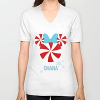 ohana V-neck T-shirts featuring Ohana Minnie  by KaylaMessies