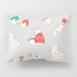 Polar Bear Winter Christmas Holiday Illustrations Pillow Sham