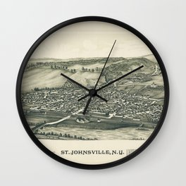 Aerial View of St. Johnsville, New York (1890) Wall Clock